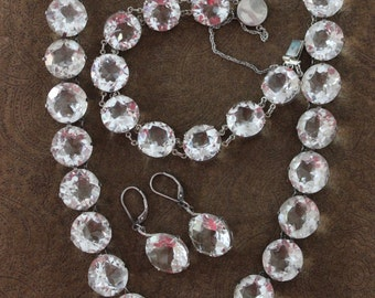 Antique OOAK Spectacularly Faceted Rock Crystal Parure with Necklace Bracelet & Earrings  - Amazing!!