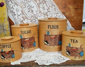 Vintage Handmade Wooden Kitchen Canister Set Coffee Tea Sugar Flour Nesting Tins Set of 4