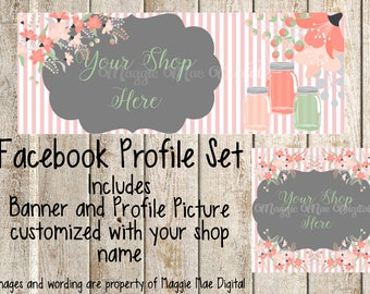 Jars and Flowers Facebook Set, Facebook banner, Facebook graphics, Facebook cover photo, store graphics, timeline set, peach stripes, pink