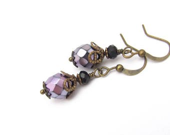 Czech Glass Purple Earrings, Petite Dangle Drop, Victorian Design Boho Bohemian, Hawaiibeads Jewelry, Hawaiian Jewelry