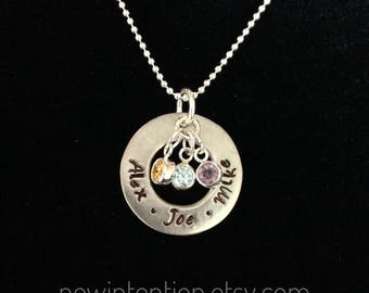 Mom - Mother - Grandmother necklace with names . Hand stamped pewter circle with crystal birthstones