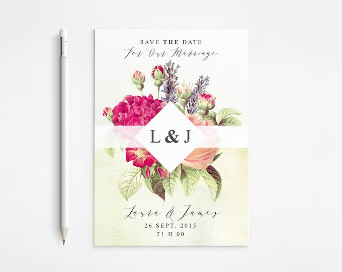 Spring Wedding Save The Date, Vintage, Floral, Botanical, Romantic, Bouquet, Roses, Peonies, Coral, Pink, Printable