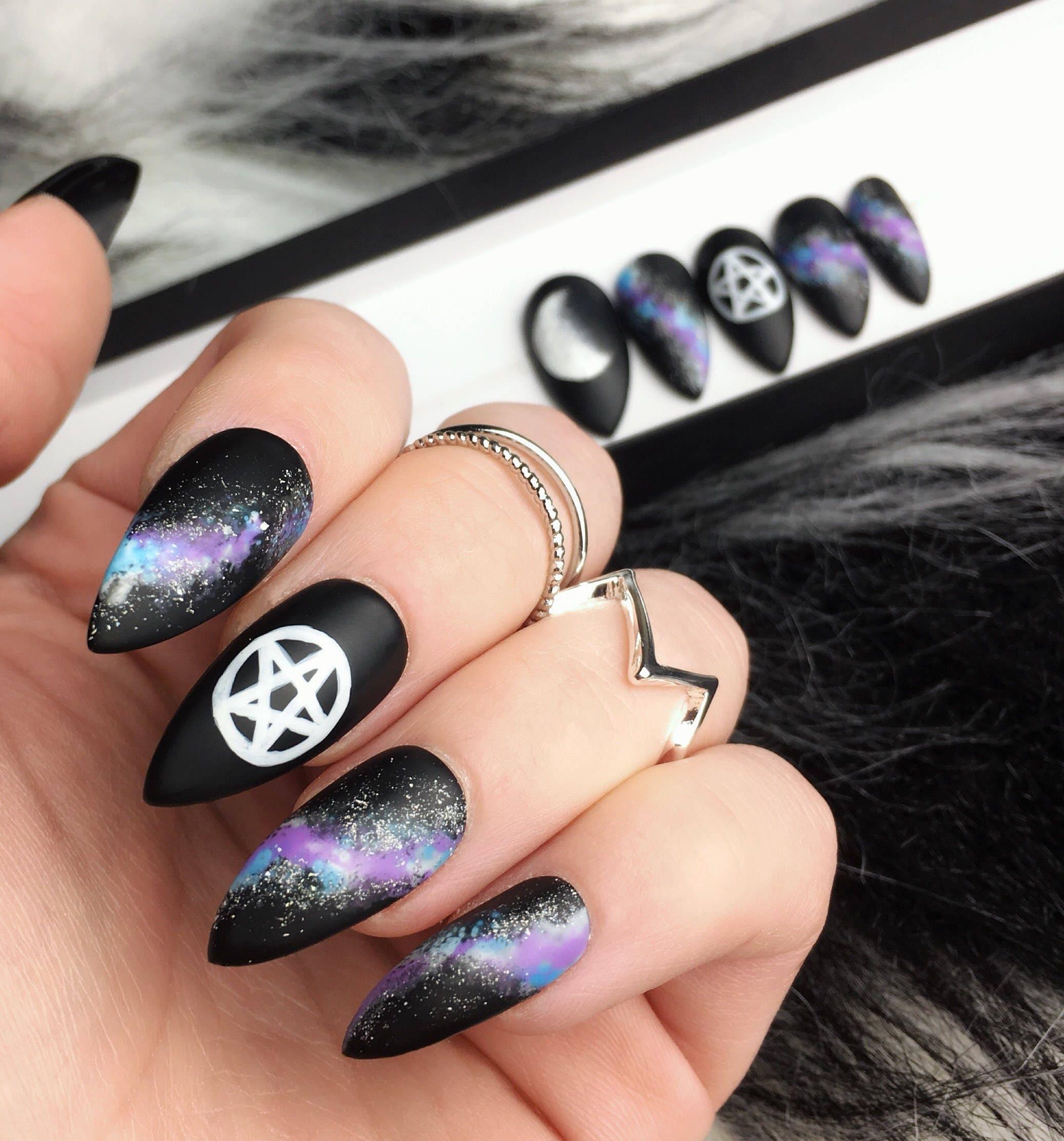 Matte Pentgram Press on Nails Galaxy False Nails Moon