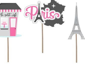 Paris cupcake topper, Paris birthday, Paris decorations, Paris, Paris party, Paris theme, Paris cake topper, birthday party, party supplies,