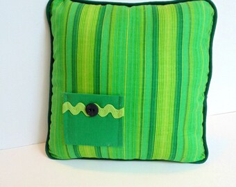 Green Kids Pillow, Green Stripe Tooth Fairy Pillow, Boys Green Pillow, Can Be Personalized