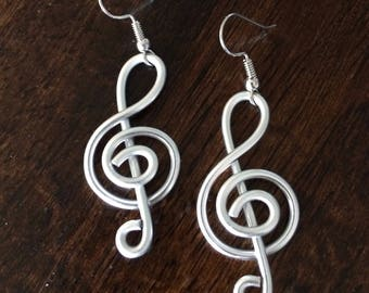 Treble Clef - Musical Earrings -  Choose your Color - Music Note