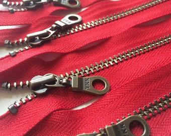 Metal Teeth Zippers- YKK Antique Brass Donut Pull Number 4.5s- 519 Hot Red- 5pcs- Available in 5 and 12 inch
