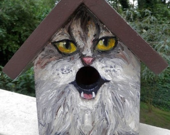 Bird House Hand Painted Custom Gray Cat Design Wood Outdoor