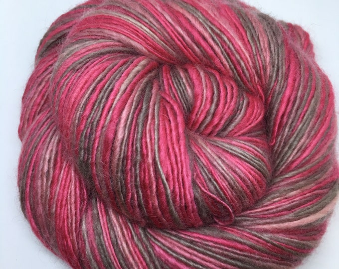 Synchronicity | handspun | single | sport weight | merino silk | 408 yds | handpainted | red | pink | tan | grey | very soft | over 3oz