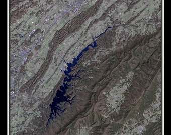 South Holston Lake Tennessee Satellite Poster Map