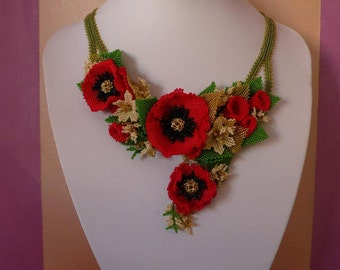 Poppy beadweaving difficoltà alta difficulty high tutorial pattern (Italian and English)