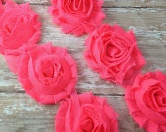 ON SALE CLOSEOUT Sale, Neon Pink Shabby Rose Trim, 1/2 Yard, Shabby Flower, Baby Headbands, Scrapbooking, Chiffon Trim, Wholesale Flowers, S