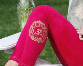 "Pink Yoga Leggings Hand Dyed from The ArtiZan Collection with Optional Hand Painted Design 30"" Inseam"