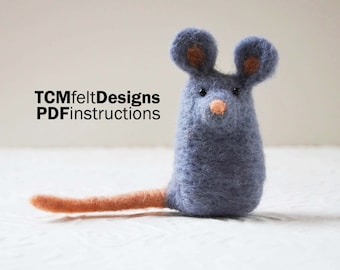 PDF Needle Felting Instructions, Mouse, wool animal fiber instructions for beginners