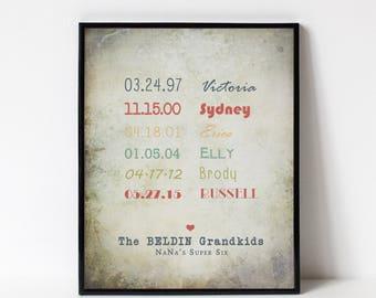 GRANDPARENT Gift - List of Grandchildrens Names and Birthdates - Custom Print for the Wall