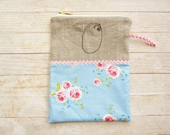 Cosmetic bag pencil case carry-all zipper pouch monogram O initial personalized wallet roses flowers dots light blue pink cotton linen black