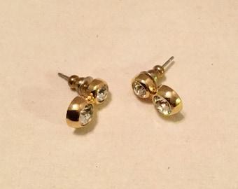 Double Round Rhinestone Earrings