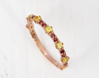 Delicate ring, Minimalist ring, Garnet ring, Citrine ring, Rose gold wedding band, Wedding ring gold, Tiny wedding ring, Thin wedding ring