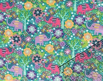 Elephants Snuggle Flannel Fabric By The Yard