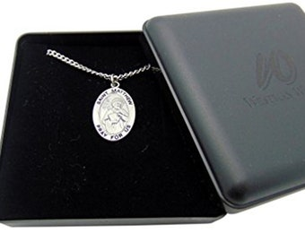 Westman Works St Matthew Solid Pewter One Inch Saint Medal with Stainless Steel Chain