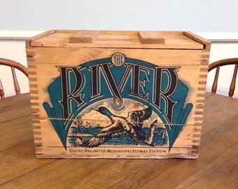 Remington Ducks Unlimited Flyway Edition wooden ammo box The River ammunition wood crate advertising rustic hunting cabin storage home decor