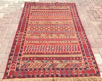 Soumak kilim rug, Vintage Turkish kilim rug, area rug, kilim rug, kelim rug, vintage rug, bohemian rug, natural wool, rugs, statement , 202