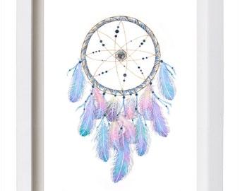 Dreamcatcher Print Watercolor Feather Dreamcatcher Art with Crystals Nursery Art Dream Catcher Tribal Print Meditation Art NativeAmerican
