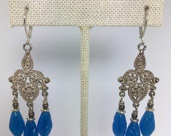 blue opal glass chandelier earrings