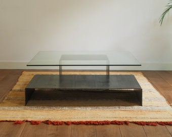 Coffee table in natural steel and laminated glass, design table, made in Spain