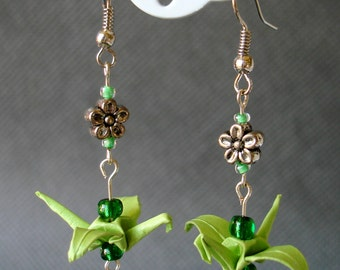 Handmade Origami Earrings with Cranes of Happiness Metallic Paper Green Glitter Flowers
