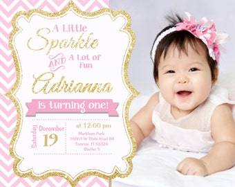 Pink and Gold invitation, Gold Glitter Invitation, 1st Birthday Invitation, Girl Birthday,  Digital or Printed