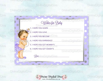 Wishes for Baby Card Lavender & Silver | Caucasian Girl | Baby Shower | Digital Instant Download