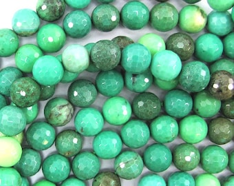 """10mm faceted green chrysoprase round beads 15.5"""" strand 32062"""