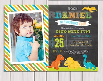 Dinosaur Birthday invitation, Dinosaur photo invitation, chalkboard invitation, Digital Dinosaurs birthday party, personalized, printable