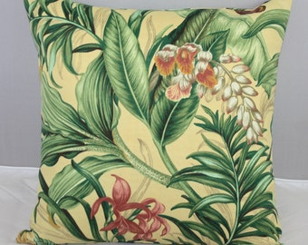 Pillow Cover - Waverly Yellow Floral Wailea Coast Sun and Shade Fabric  16x16