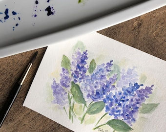 An Original Watercolor with a little pen and ink, Lilacs