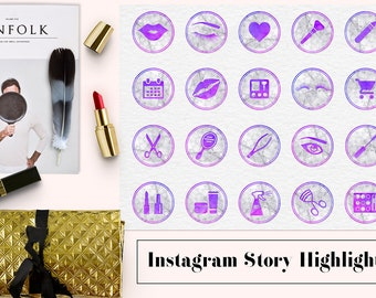 Marble & Watercolor Instagram Story Highlights, Makeup Artist Icons, Watercolor Instagram Icons, Marble Instagram Story Template, BUY5FOR8