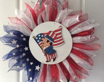 American Door Decor , American Flag Wreath, Usa Pride, Patriotic Wreath, Flag Wreath, Memorial Day Wreath , July 4 Wreath, God Bless America