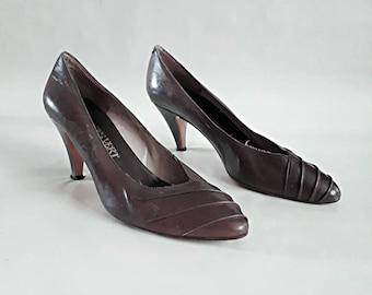 1980's vintage shoes 80's purple shoes 80's high heel shoes Jacques Vert shoes 1980's vintage pumps high heel pumps size 5.5 shoes (fit a 5)