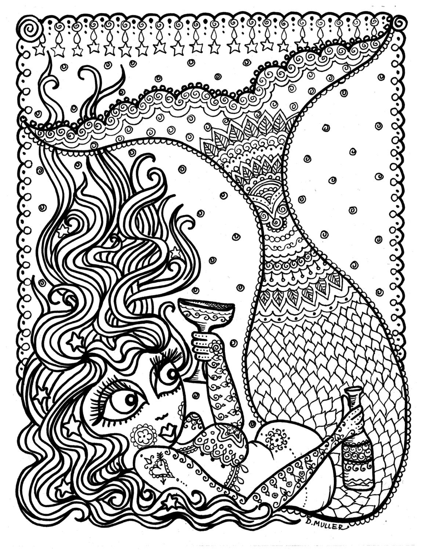 Meerjungfrau Instant Download Färbung Seite Malbuch für