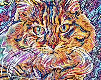 Cat Art, Feline Art Print, Pet painting