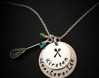 Personalized Lacrosse necklace- personalized handwriting jewelry-LAX Team Jewelry-Lacrosse Necklace, Lacrosse sticks-Lacrosse necklace