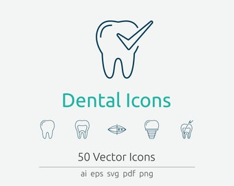 Dental Icon Set in Vector and PNG for web and print