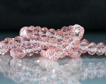 24 pcs 6x4mm Transparent Pink Rondelle Glass Beads TP-5