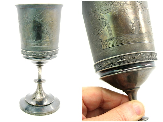 Antique Meriden Britannia Silver Plate Wine Goblet Engraved Fishing Scene