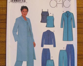 SIMPLICITY DRESSMAKING PATTERN - 9572 Ladies Skirt, Pants, Lined Jacket, Coat, Singlet Top, Size 12 14 16 18, Uncut