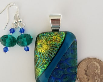Teal and Green Dichroic fused glass pendant and matching earrings