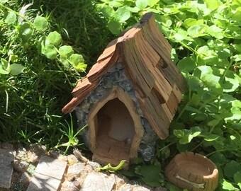 "SALE Fairy Garden Dog House and Bowl, ""Shingletown"", Fairy Garden Accessory, Miniature Gardening, Home and Garden Decor, Topper, Gift"