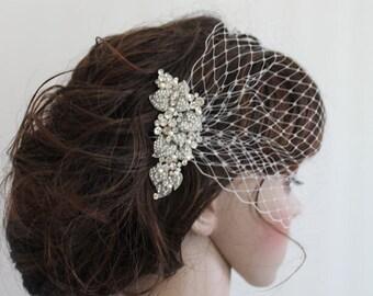 Ivory birdcage veil,Wedding birdcage,Birdcage fascinator,Birdcage veil bridal,Blusher veil,Wedding veil,Birdcage veil,Wedding Fascinator