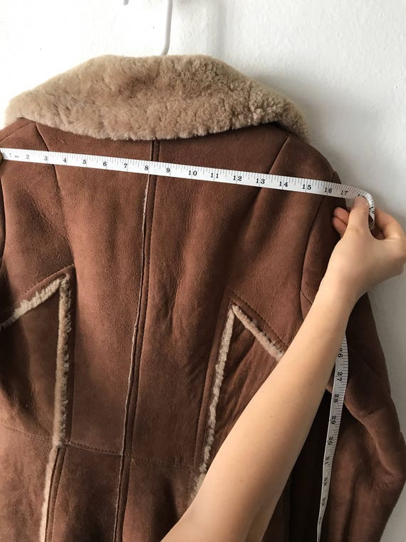Genuine Extra Elegant Sheepskin Coat Vintage Warm Small And Size Long Comfy Fur Brown Women's aaqR1x0